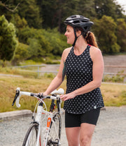 Women's Cycling Tank Top - Black Dots