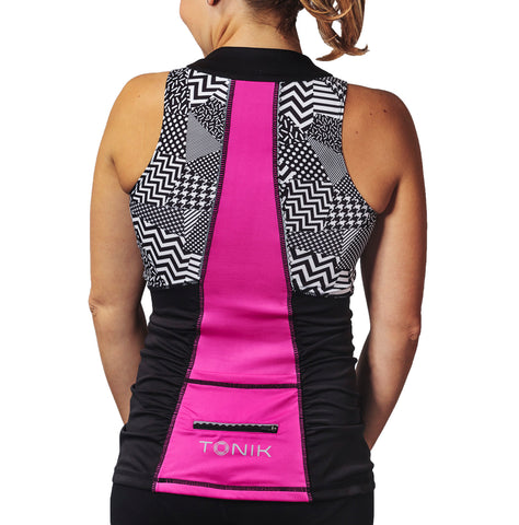 Abbey Tank Black and Pink Geometric