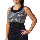 Abbey LIGHT Tank, Black Patchwork