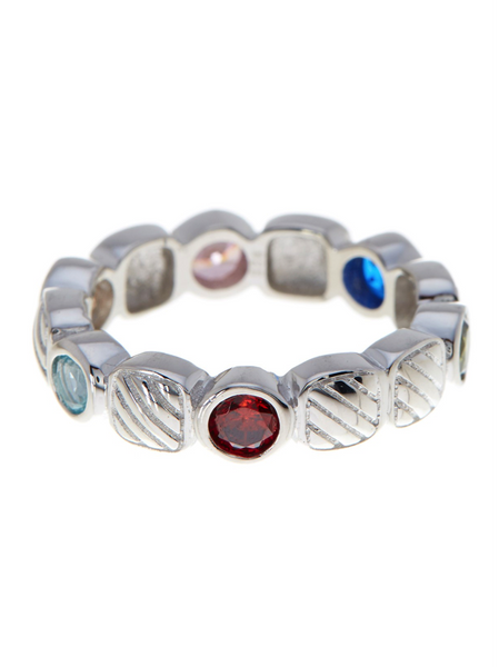 Sterling Silver Rope Band With Multi Color Stones