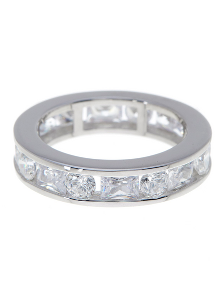 Celebration Eternity Ring in White Cubic Zirconias - Sterling Forever