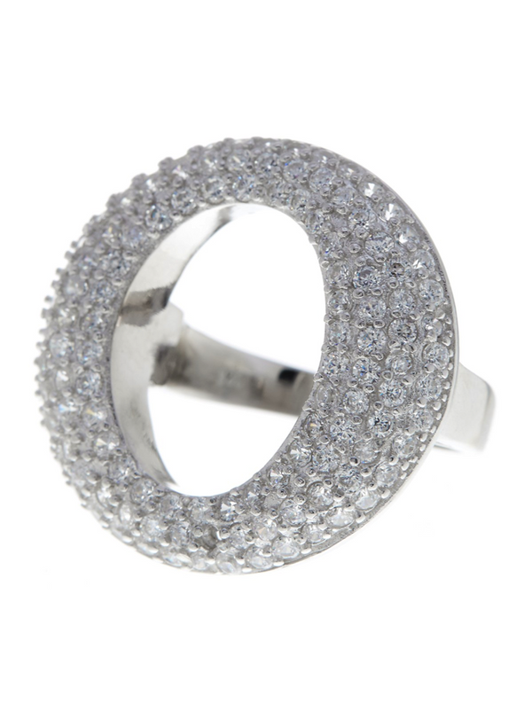 Sterling Silver Pave O Ring - Sterling Forever