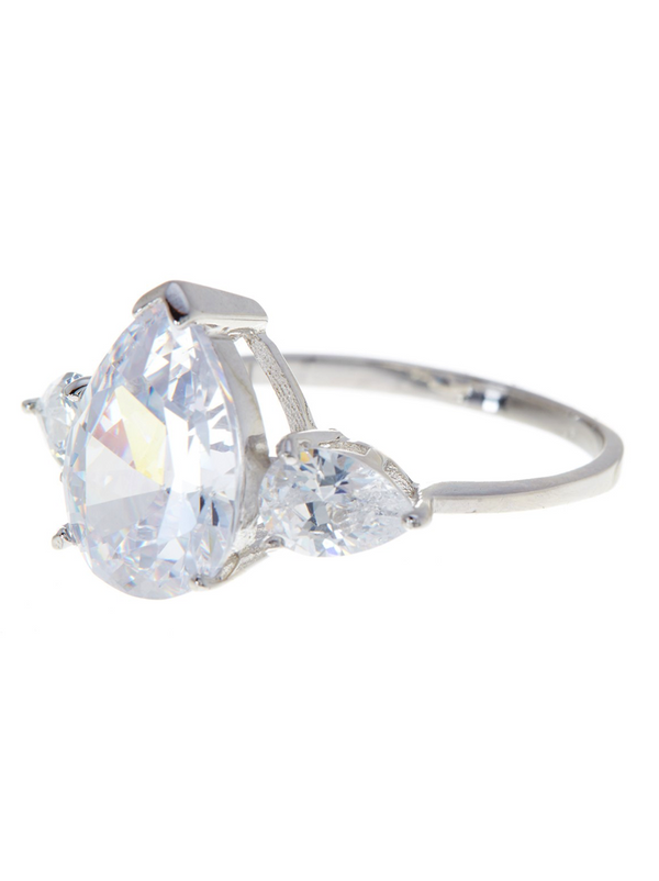 Sterling Silver Pear Cut CZ Diamond Ring - Sterling Forever
