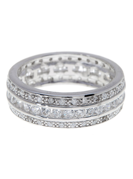 Eva's Sterling Silver Triple Row CZ Wedding Band Ring