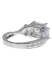 Sterling Silver Princess Cut Engraved Engagement Ring