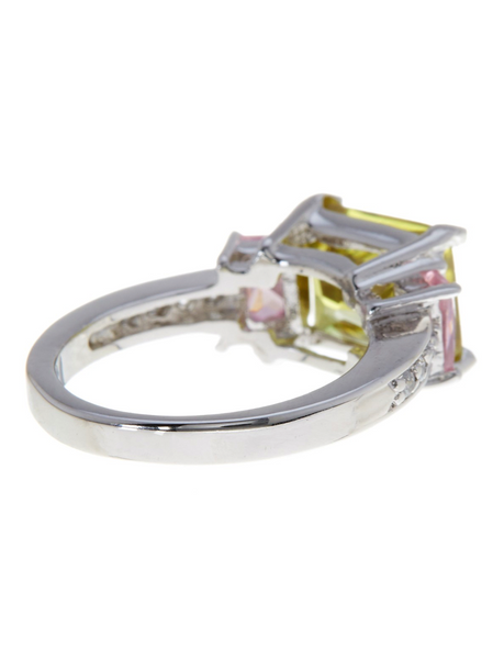Sterling Silver Camilla's Peridot N' Pink Ring