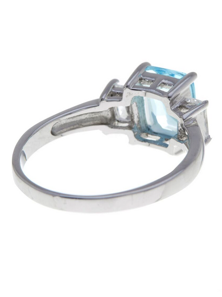 Sterling Silver Emerald Cut Blue Topaz CZ 3 Stone Ring