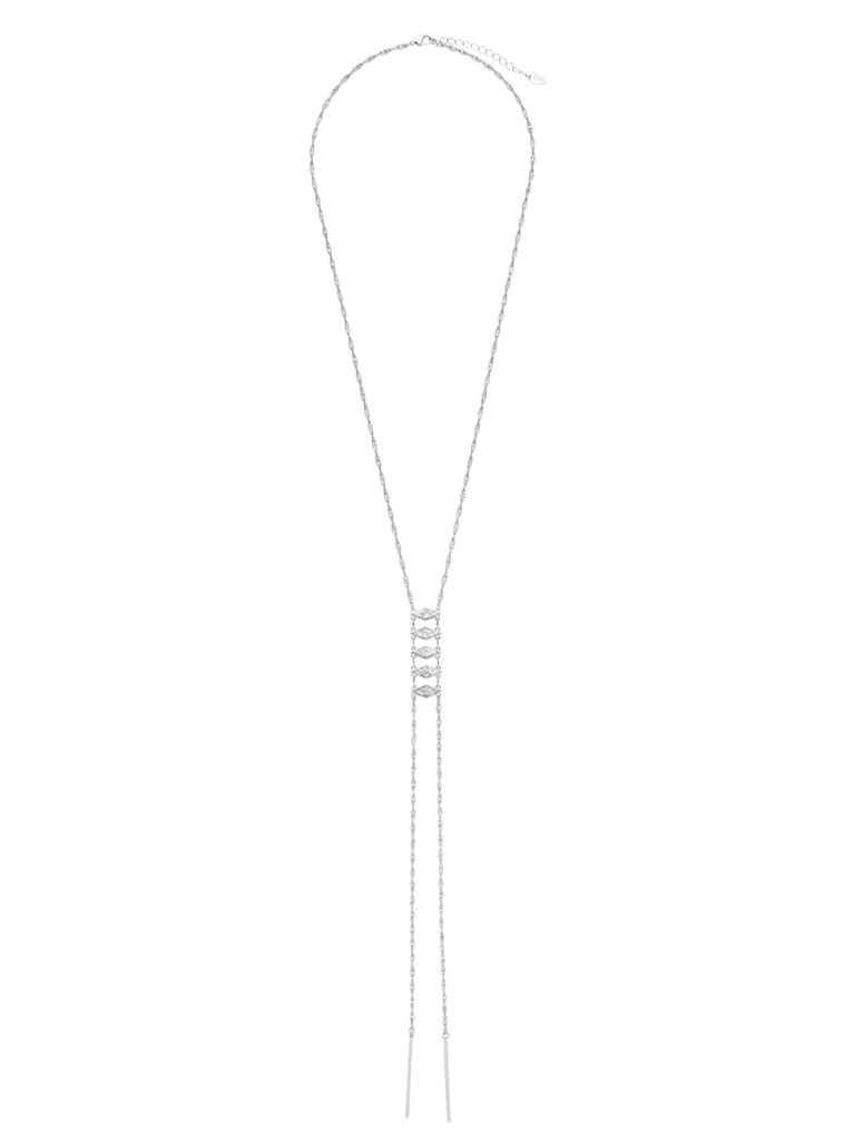 White Marble Stacked Necklace with Bar Drops - Sterling Forever