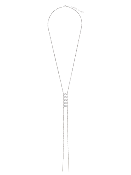 White Marble Stacked Necklace with Bar Drops