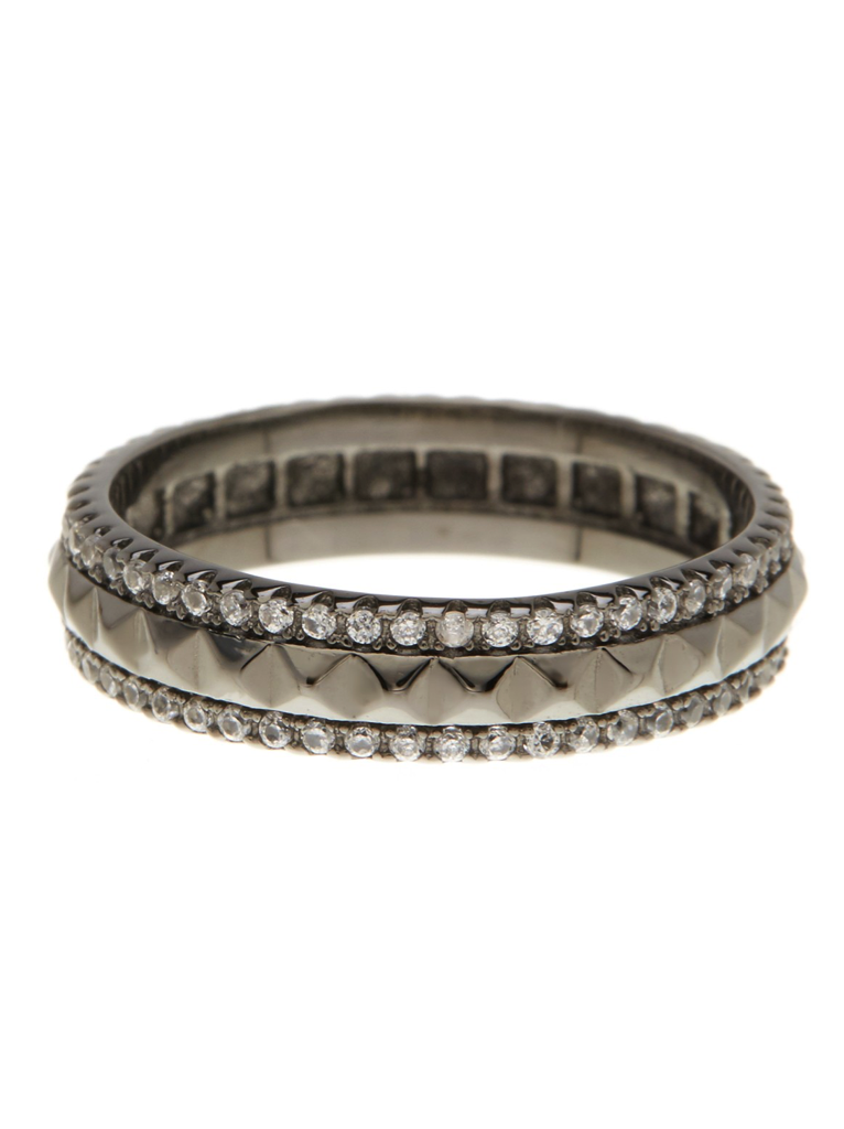 Sterling Silver Textured CZ Ring