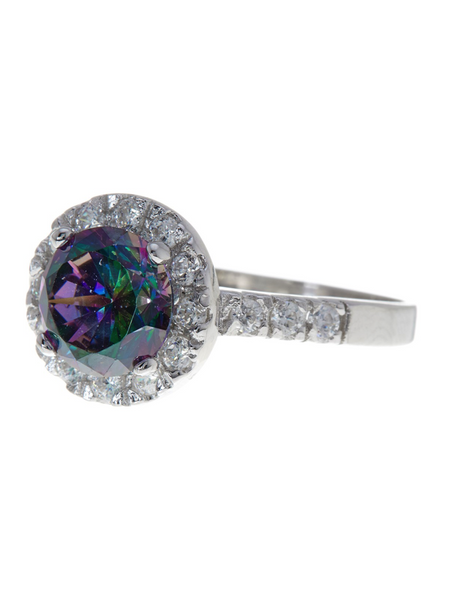 Sterling Silver Mystic Topaz Brilliant Cut CZ Ring