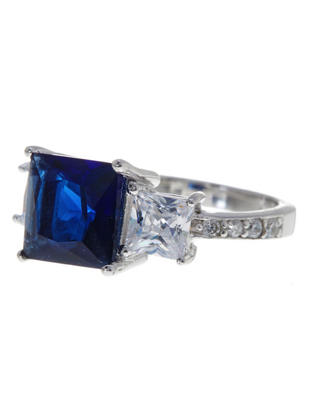 Sterling Silver Princess Cut Sapphire CZ 3 Stone Ring