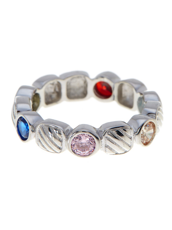 Sterling Silver Rope Band With Multi Color Stones - Sterling Forever