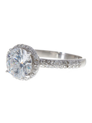 Sterling Silver Round Brilliant CZ Ring with Bead Set Border