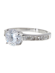 Sterling Silver Radiant CZ Engagement Ring