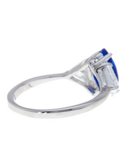 Sterling Silver Sapphire Marquise Cut Ring