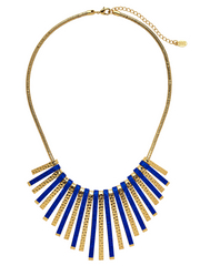 Blue & Gold Layering Bar Statement Necklace