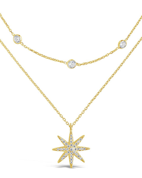 Layered Burst Pendant Necklace Necklace Sterling Forever Gold