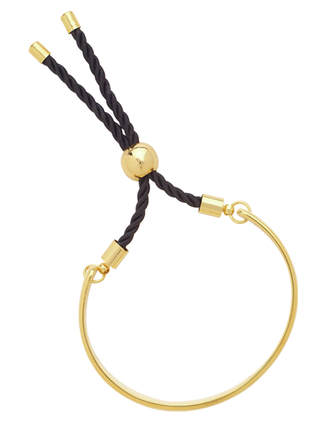 Solid Gold Bar Adjustable Bracelet with Cord