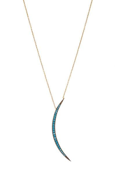 Gold & Synthetic Turquoise Crescent Pendant Necklace Necklace Sterling Forever Gold