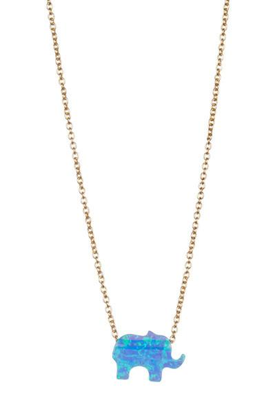Gold and Marbled Enamel Elephant Pendant Necklace Sterling Forever Gold