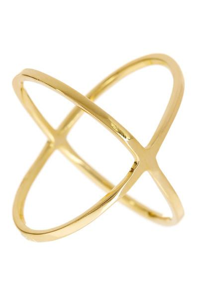 Essential Sterling Silver 14K Criss Cross Ring