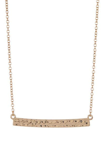 Delicate Textured Gold Bar Necklace