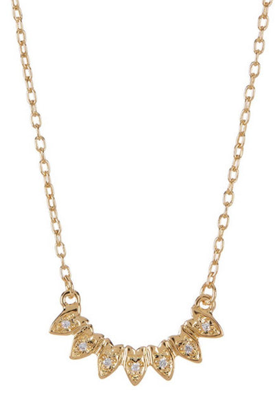 Gold & CZ Petal Pendant Necklace