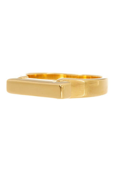14K Gold Sterling Silver Engravable Bar Ring
