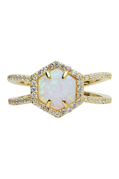 14K Gold Vermeil Created Opal Gemstone Double Row Band Ring
