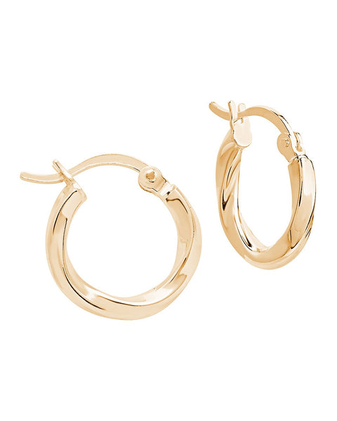 Sterling Silver Classic Twist Hoops Earring Sterling Forever Gold