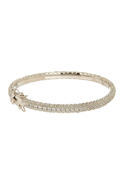 Sterling Silver CZ Pave Bangle