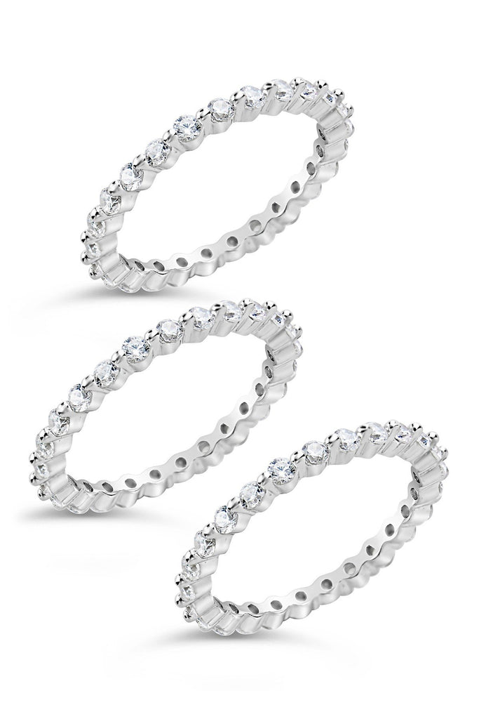 Sterling Silver Bezel Set CZ Band Stackable Rings - Set of 3