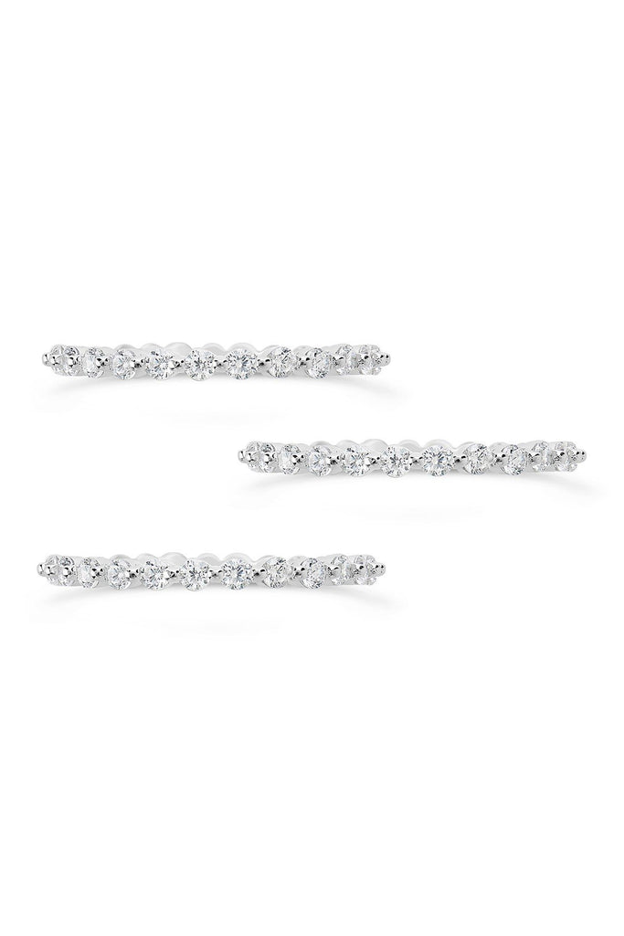 Sterling Silver Bezel Set CZ Band Stackable Rings - Set of 3 - Sterling Forever