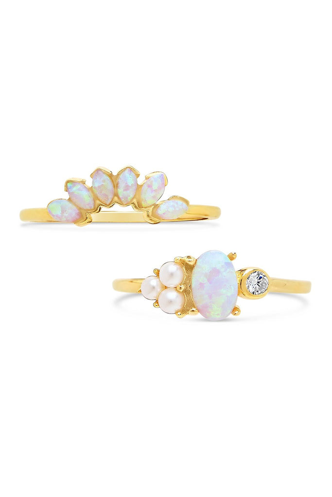 14K Gold Vermeil Marquise Cut Created Opal & Bezel Set CZ Ring Set - Sterling Forever