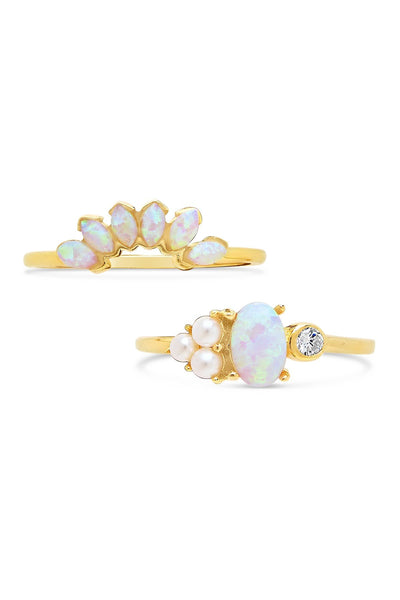 14K Gold Vermeil Marquise Cut Created Opal & Bezel Set CZ Ring Set