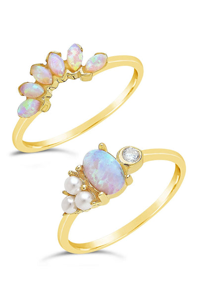14K Gold Vermeil Marquise Cut Created Opal & Bezel Set CZ Stackable Rings - Set of 2