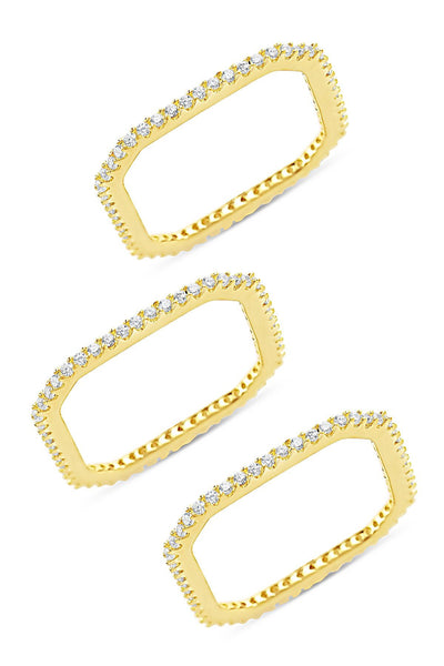 14K Gold Vermeil CZ Pave Squared Stackable Ring Set of 3