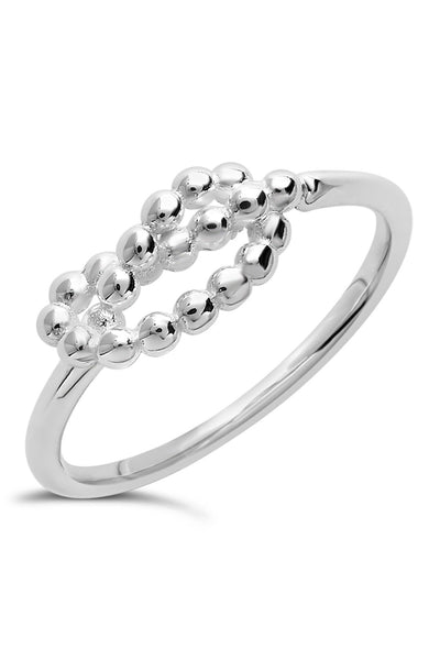Sterling Silver Beaded Love Knot Ring