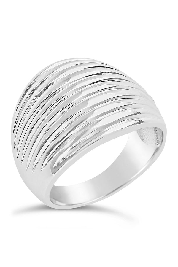 Sterling Silver Textured Curve Ring - Sterling Forever