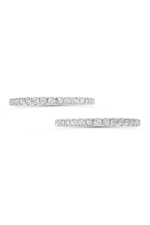 Sterling Silver CZ Pave Band Stackable Rings - Set of 2 - Sterling Forever