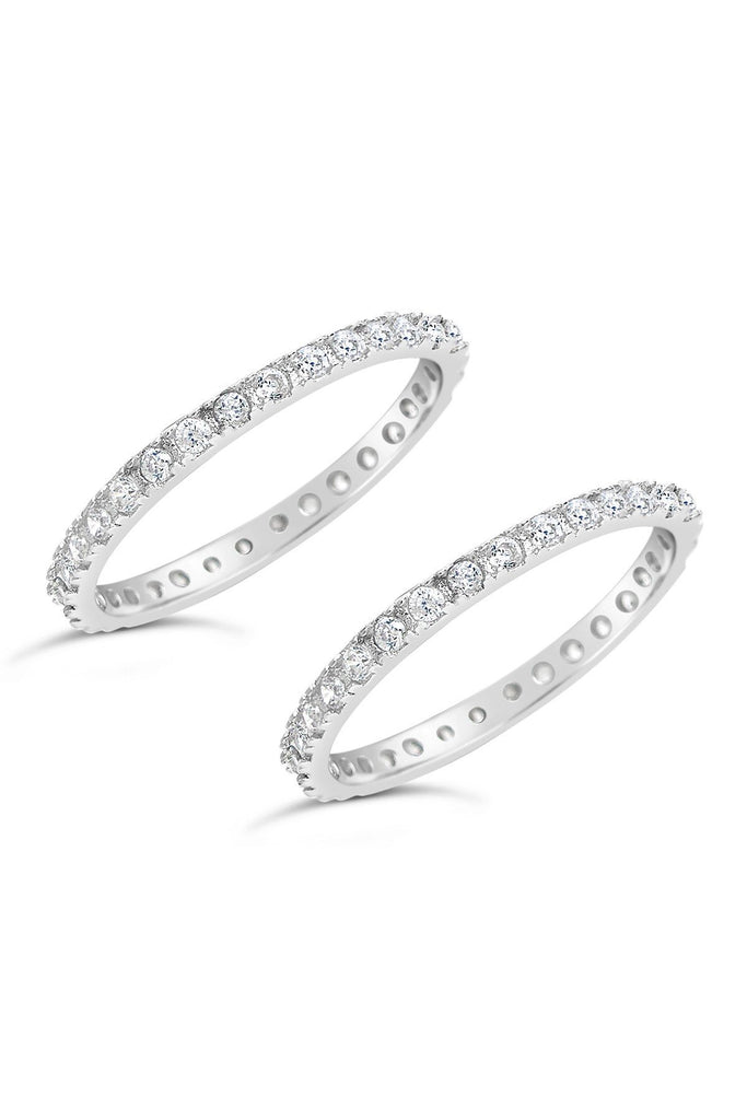 Sterling Silver CZ Pave Band Stackable Rings - Set of 2
