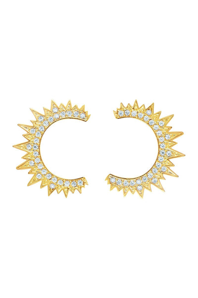 Gold CZ Crescent Stud Earrings