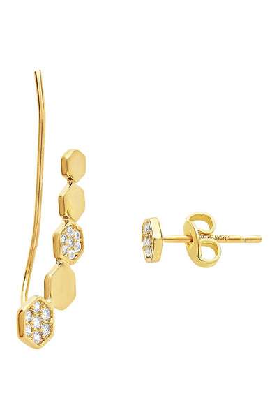 CZ Hexagon Ear Crawler & Stud Earring Set