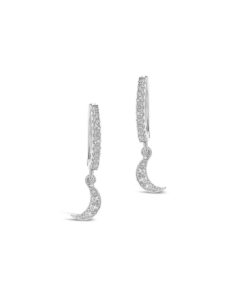 Sterling Silver CZ Crescent Micro Hoops - Sterling Forever