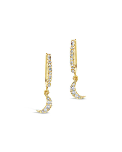 Sterling Silver CZ Crescent Micro Hoops Earring Sterling Forever Gold