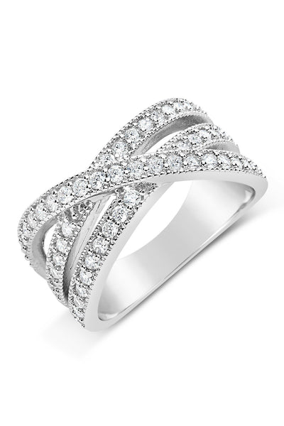 Sterling Silver CZ Crossed Band Ring