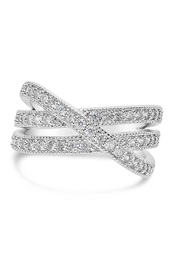 Sterling Silver CZ Crossed Band Ring - Sterling Forever