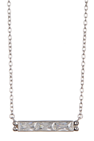 Sterling Silver CZ Bar Necklace Necklace Sterling Forever Silver