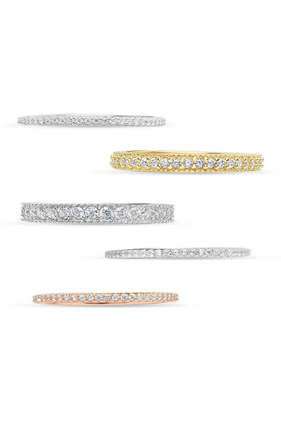 14K Gold Vermeil Sterling Silver Tri-Tone CZ Stacking Ring Set of 5